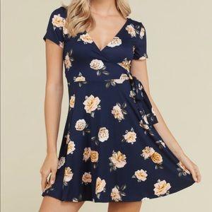 🌻 Wrap Navy Blue Dress